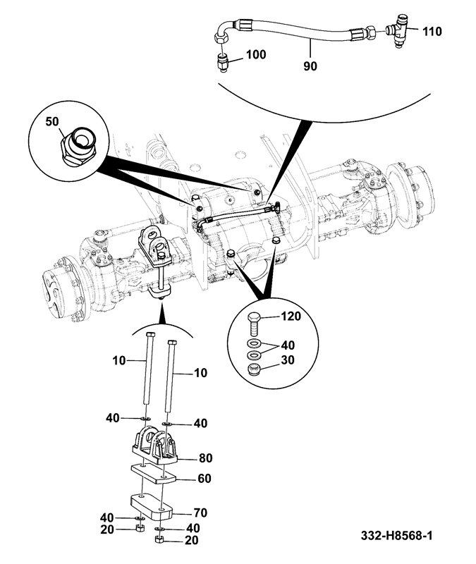 560 80 spare parts John Deere 214 Parts Diagram front axle installation assemblies mounting pad mount front axle 332 h8568 dana
